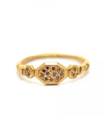 Small Hex Ring - Champagne Diamond