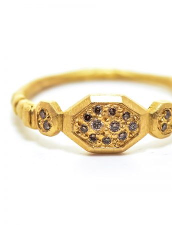 Small Hex Ring – Champagne Diamond