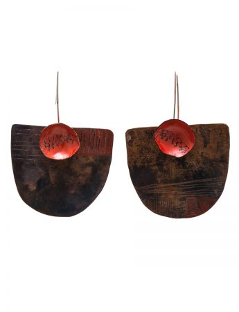 Apron Earrings with Pocket - Copper