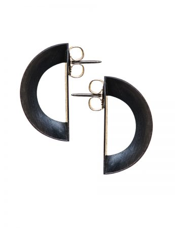 Open Back Half Shell Stud Earrings - Oxidised