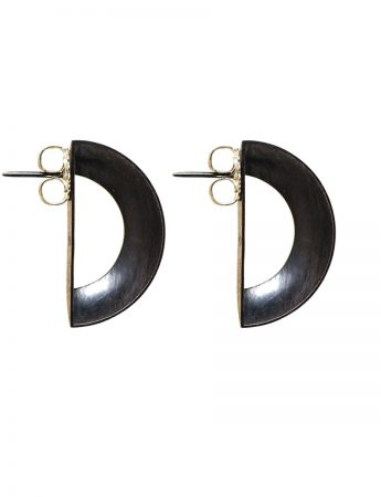 Open Half Earrings - Oxidised