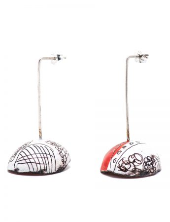 Umbrella Earrings - Red & White