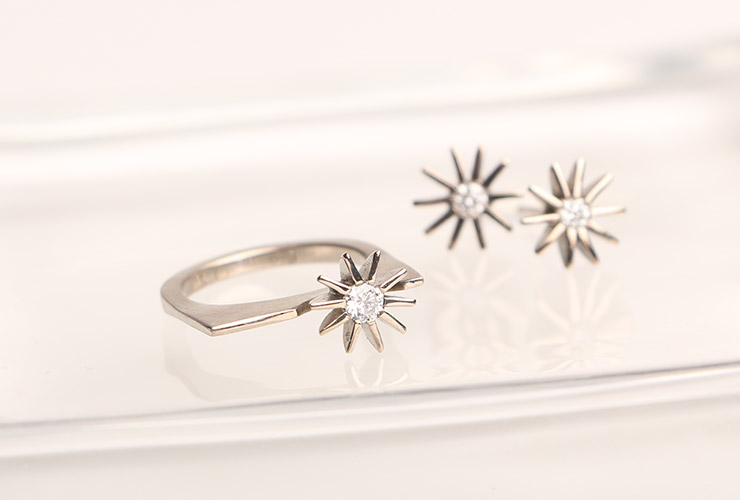 Katheryn Leopoldseder Radiant Star ring and stud earrings