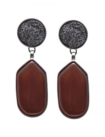 Druzy & Carnelian Stone Earrings #1