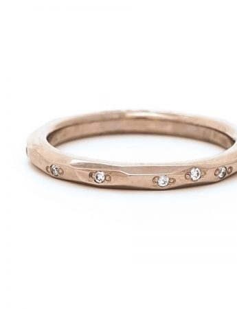 Faceted Diamond Band - White Gold
