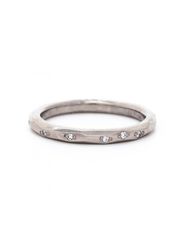 Faceted Diamond Band – White Gold