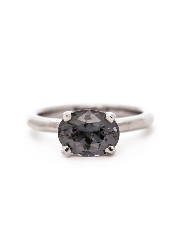 Grey Spinel Solitaire Ring