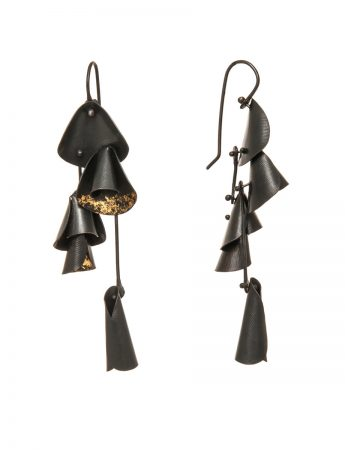 Long Pea Flower Earrings - Black & Gold
