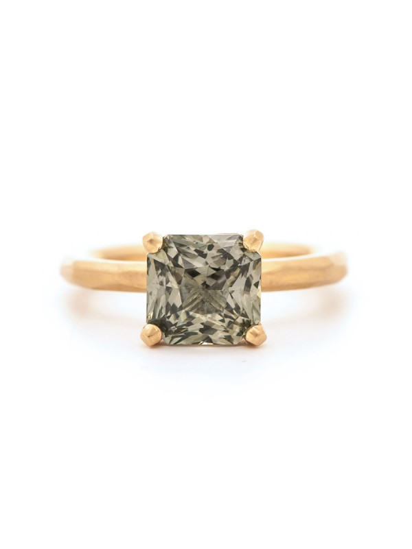 Olive Sapphire Solitaire Ring