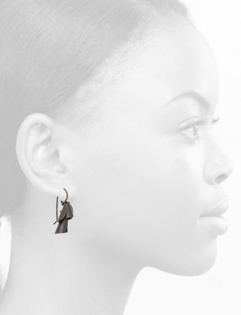 Small Pea Flower Earrings – Oxidised Silver