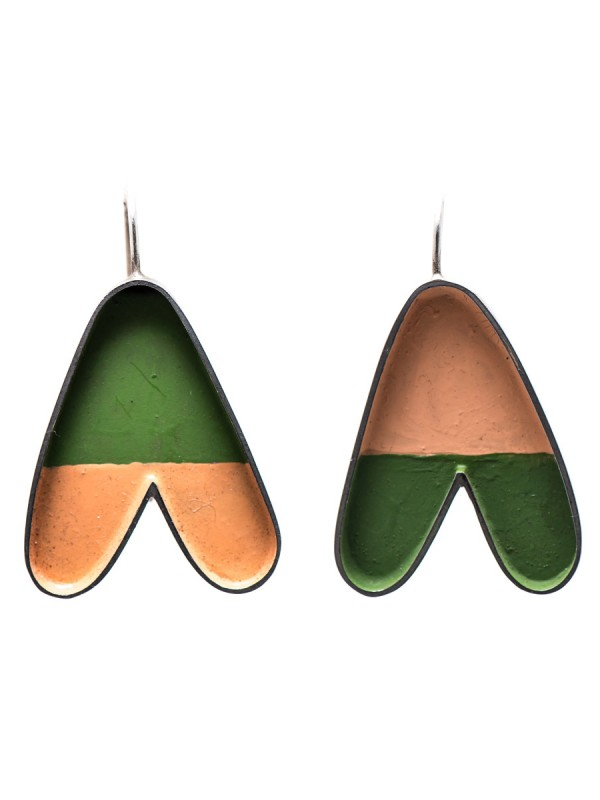 """A"" Earrings – Peach & Green"