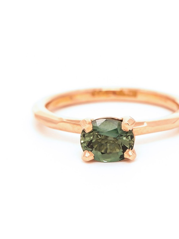 Oval Sage Sapphire Ring – Rose Gold