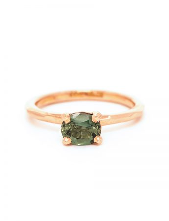 Oval Sage Sapphire Ring - Rose Gold