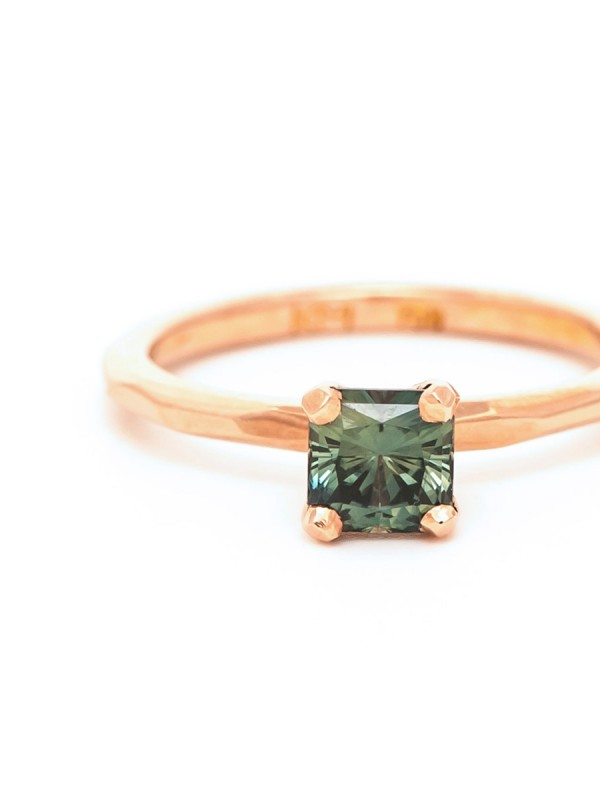 Square Sage Sapphire Ring – Rose Gold