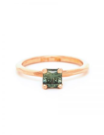 Square Sage Sapphire Ring - Rose Gold