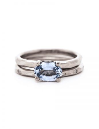 Silver Sapphire Solitaire Ring