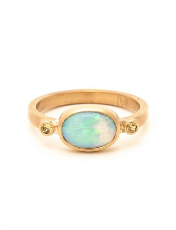 Boulder Opal Ring – Yellow Sapphires