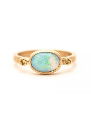 Boulder Opal Ring - Yellow Sapphires