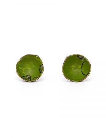 Cup Stud Earrings - Green