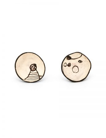 Cup Stud Earrings - White