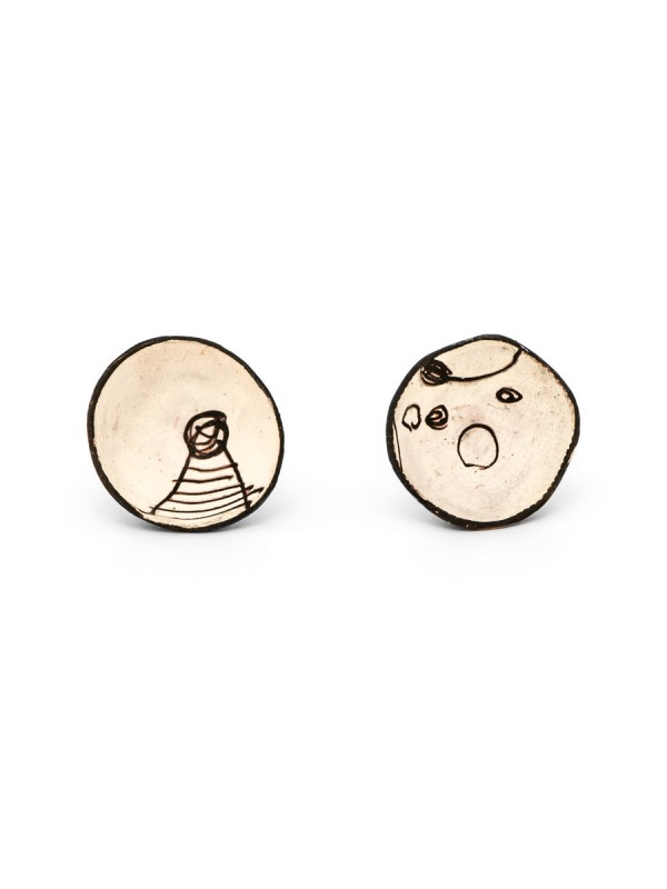 Cup Stud Earrings – White