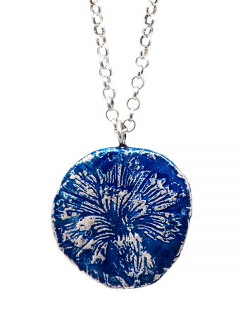 Fragment Carnation Flower Necklace - Blue