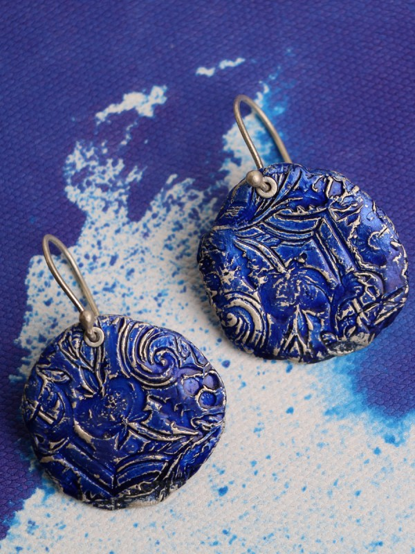 Fragment Round Earrings – Blue