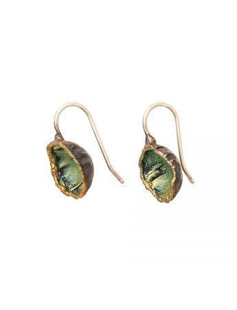 Single Dome Shibuichi Hook Earrings - Green