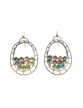 Hanging Oval Shibuichi Earrings - Green Tones