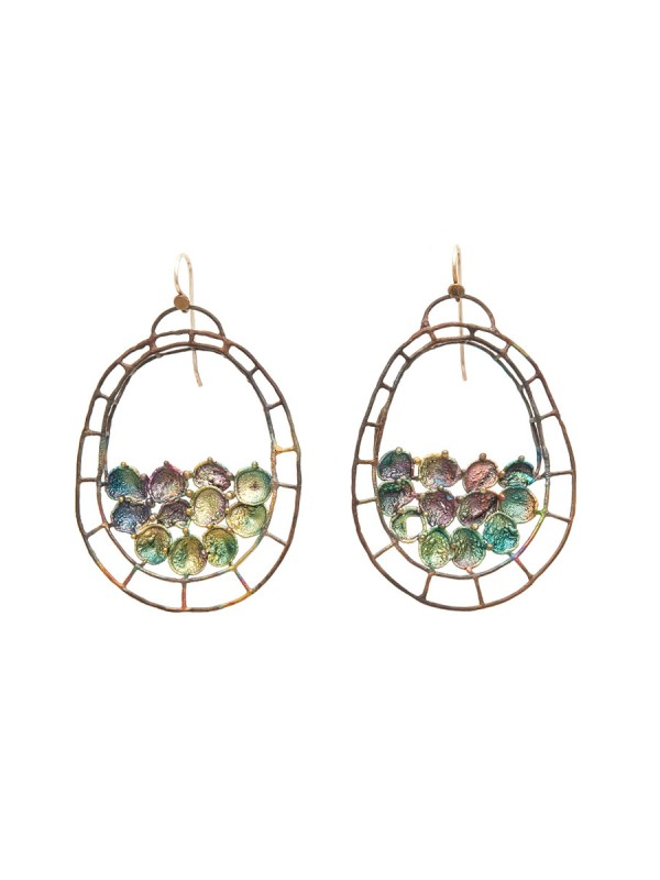 Hanging Oval Shibuichi Earrings – Green Tones