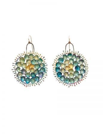 Hanging Round Shibuichi Earrings - Blue Tones