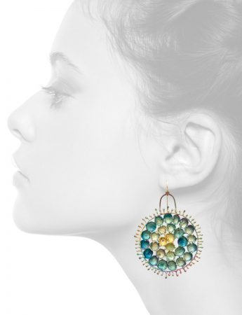 Hanging Round Shibuichi Earrings – Blue Tones