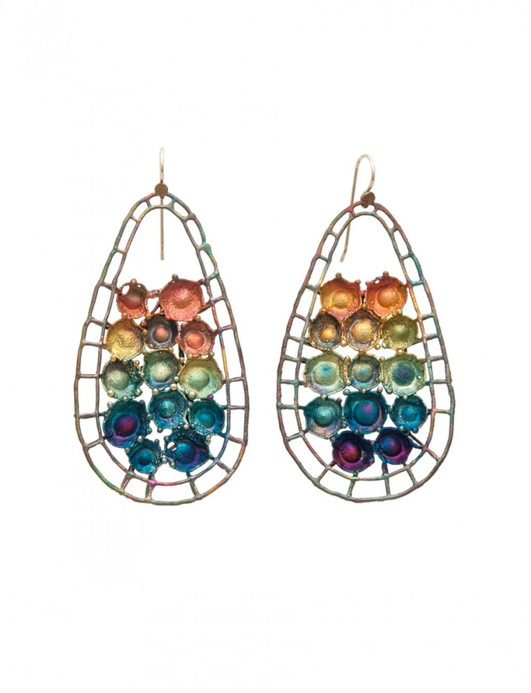 Hanging Teardrop Shibuichi Earrings