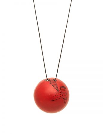 Large Button Pendant – White / Red