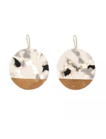 Large Circle Earrings - Black Marble