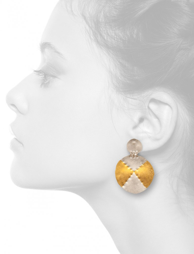 Large Circle Earrings – Silver & Gold