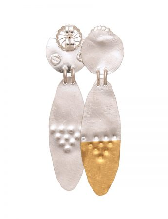 Long Oval Earrings - Silver & Gold