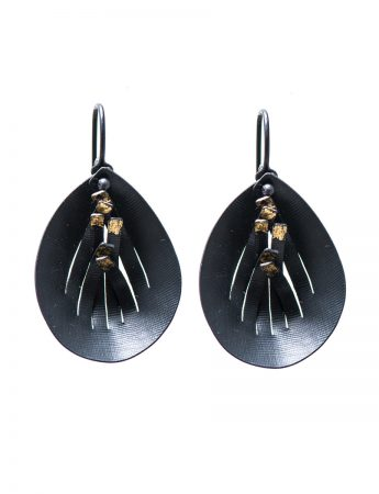 Magnolia Hook Earrings - Black & Gold