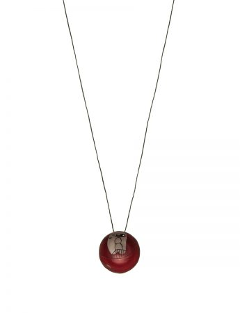 Medium Button Pendant - Red / White