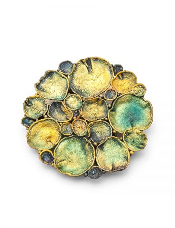 Medium Circle Shibuichi Brooch – Lily Pads