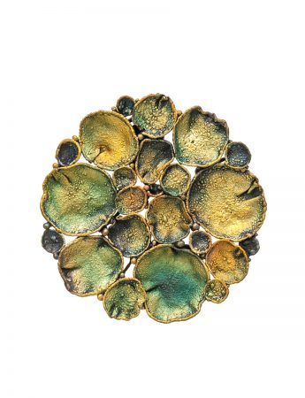 Medium Circle Shibuichi Brooch - Lily Pads