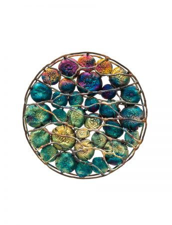 Medium Circle Shibuichi Brooch - Lines