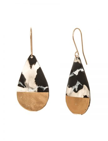 Medium Teardrop Earrings - Black Marble