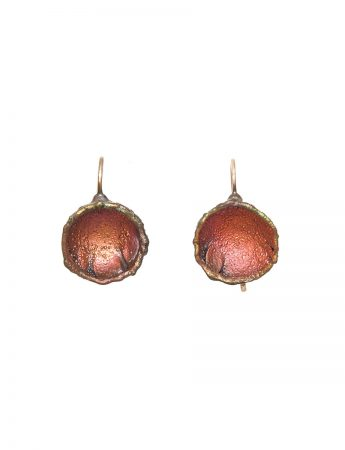 Single Dome Shibuichi Hook Earrings - Pink