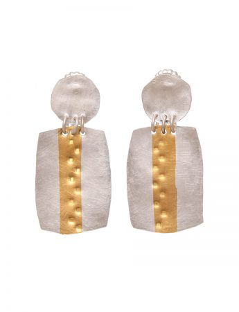 Medium Rectangle Earrings - Gold Line