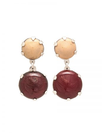 Pom Pom Park Earrings - Beige & Red