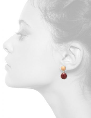 Pom Pom Park Earrings – Beige & Red