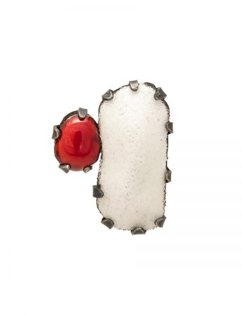 Pom Pom Park Stud Earrings - Red & White