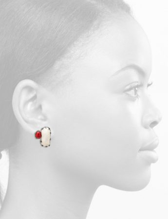 Pom Pom Park Stud Earrings – Red & White
