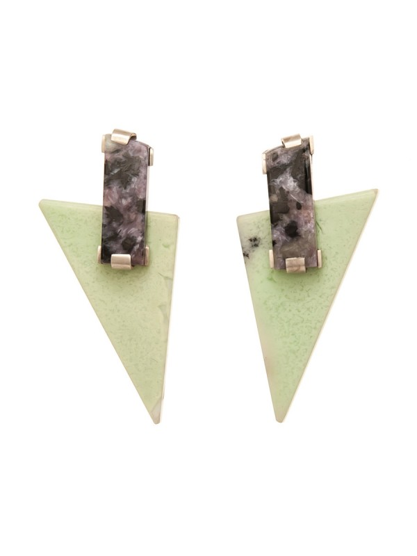 Riveted Triangle Stud Earrings